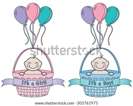 It's a newborn baby boy and it's a newborn baby girl. Each in a basket with banner and balloons. Cartoon style.