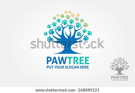 It's a paw incorporate with a tree object, this logo try to communicate a protection for your dog/cat or other pet animal. - stock vector