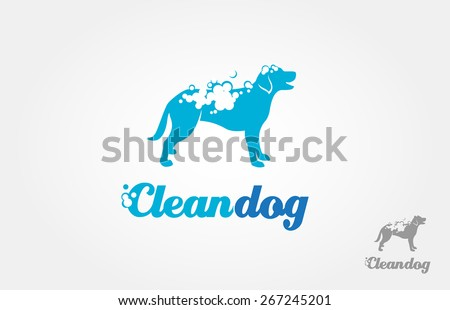 It's a silhouette of the dog logo, with foam on the body, it's look like bathing. This image good for pet washing services logo, pet care services, and others that related with pet or dog services. - stock vector
