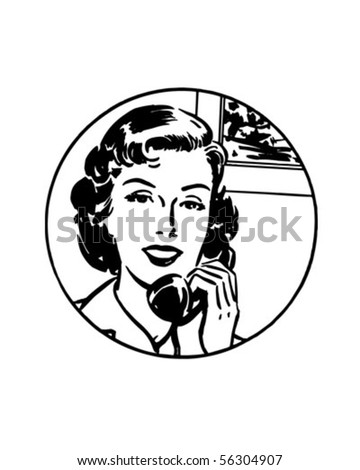 It's Easiest By Phone #1 - Retro Clip Art - stock vector