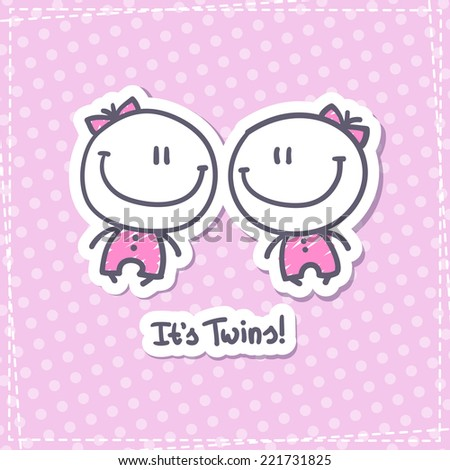 it's twins, vector hand drawn babies with text - stock vector