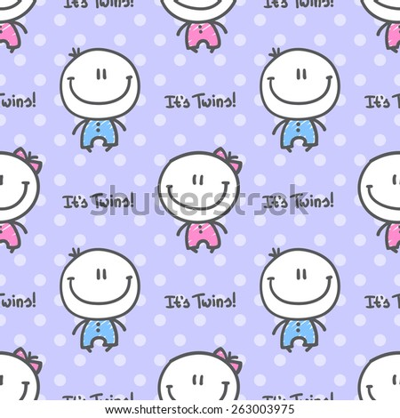 it's twins, vector seamless pattern of hand drawn babies with text - stock vector