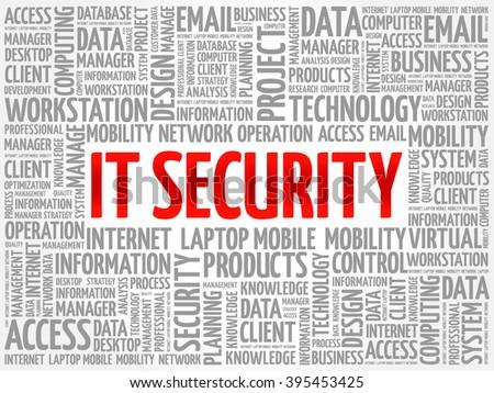 IT Security word cloud concept - stock vector