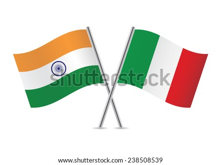 Italian and Indian flags. Vector illustration.