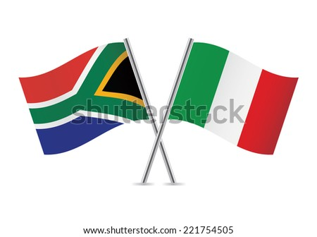 Italian and South African flags. Vector illustration.