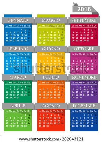 Italian calendar for year 2016, week starts on Monday