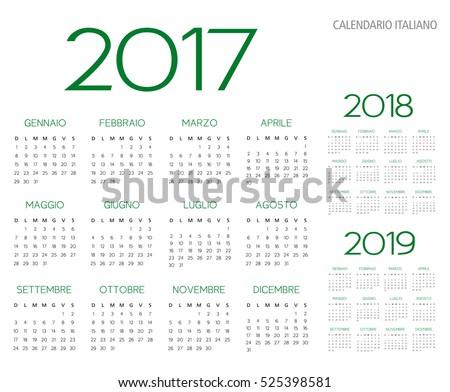 Italian Calendar 2017-2018-2019 vector text is outline version