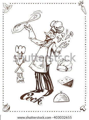 Italian chef - pizza. hand-drawn ink. isolated vector. Cartoon vintage style. calligraphic time to cook. logo. menu design, cafe, restaurants and pizzerias. print packaging - stock vector