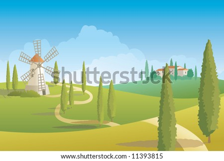 Italian countryside landscape - stock vector