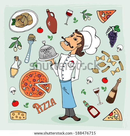 Italian cuisine and food hand-drawn illustration with a handsome chef in a toque holding a food dome surrounded by icons depicting pasta  spaghetti  pizza  wine  grapes  olives and cooking ingredients - stock vector