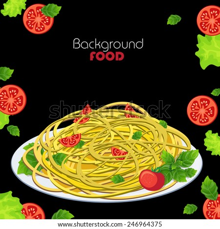 Italian cuisine. Pasta with tomatoes and basil on a black background - stock vector