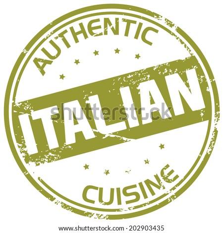 italian cuisine rubber stamp - stock vector