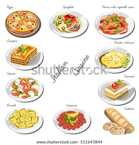 Italian cuisine set collection food dishes stock vector for Italian decoration food