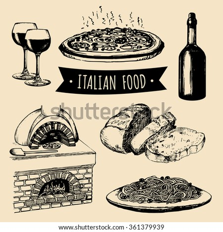 Italian cuisine signs. Hand sketched italian menu. Vector set of hand drawn mediterranean food elements with hand lettering. Hand sketched traditional southern europe meal and drink in ink style. - stock vector