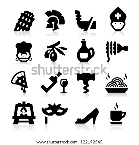 Italian Culture Icons - stock vector