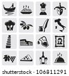 Italian culture vector black icons set - stock vector