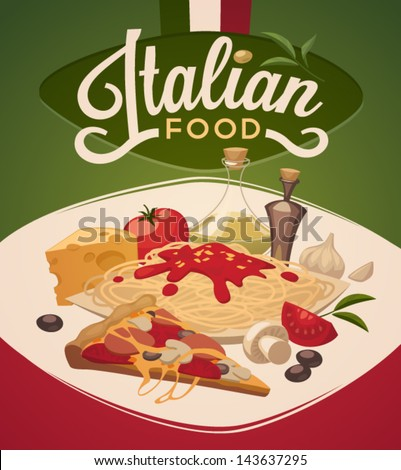 Italian food - stock vector