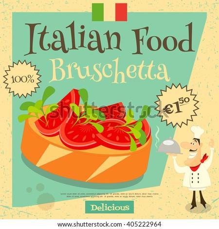 Italian Food Bruschetta Cover Menu Advertising Stock Vector