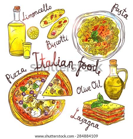 Italian Food, Hand Drawn Watercolor Illustration With Pizza, Pasta, Lasagna, Biscotti, Olive Oil And Limoncello - stock vector