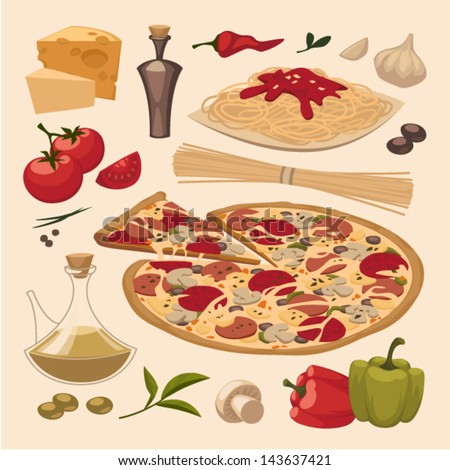Italian food. Objects set - stock vector