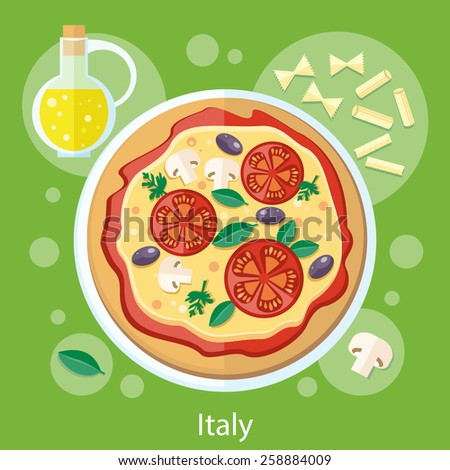Italian food. Pizza with its ingredients. Concept in flat design - stock vector