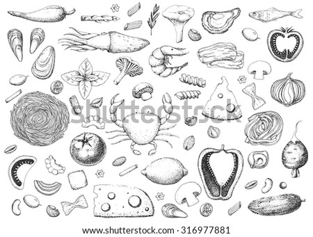 Italian food. Seafood and vegetables. Pasta and macaroni. Vintage black and white illustration in the style of engravings. Hand drawn food vector background.