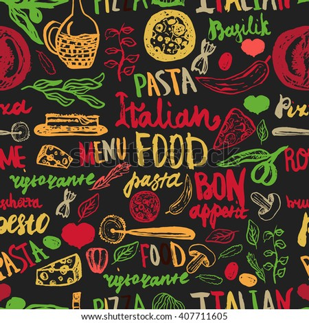 Italian food Seamless Background with Various Groceries: Pasta, Vegetables, pizza and Mushrooms - stock vector