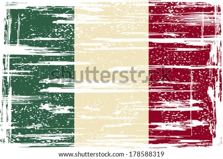 Italian grunge flag.  - stock vector