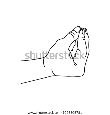 stock vector italian hand sign meme illustration vector isolated 1023306781 line drawing human male hand holding stock vector 188924012