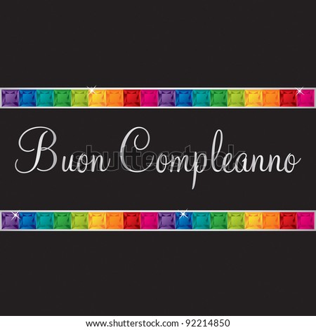 Italian 'Happy Birthday' card in vector format. - stock vector