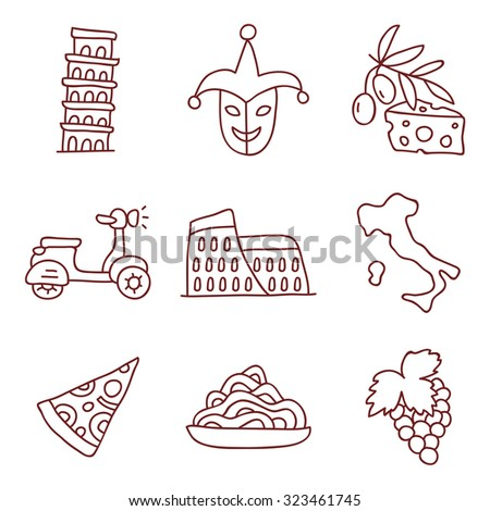 Italian icons, hand-drawn. Vector.