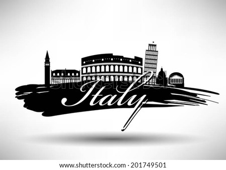 Italian Landmark with Typographic Design - stock vector