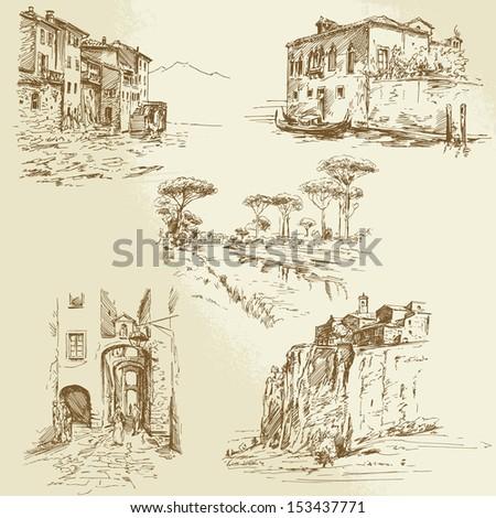 italian landscapes - stock vector