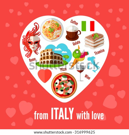 Italian love - heart shape with vector icons. Vector illustration. Icons with elements of pizzas, pastas, Coliseum, coffee, masks, wine, tiramisu, maps of Italy. - stock vector