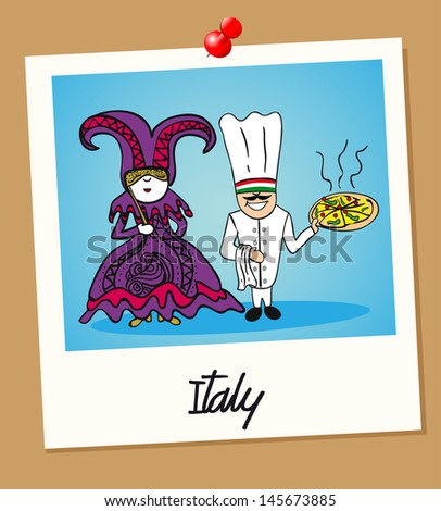 Italian man and woman cartoon couple in vintage instant photo frame. Vector illustration layered for easy editing.