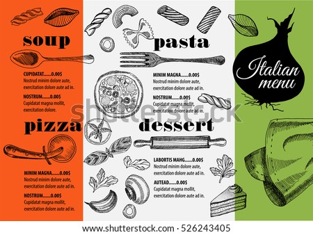 Placemat Menu Restaurant Food Brochure Cafe Stock Vector