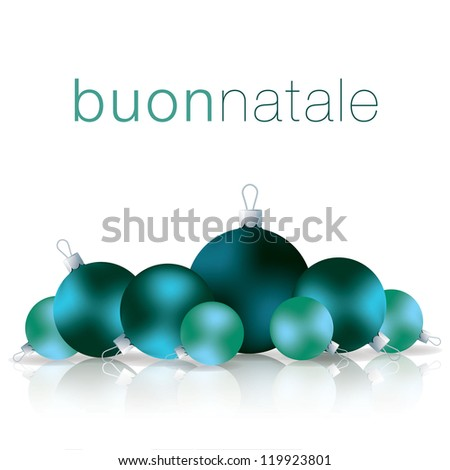 Italian Merry Christmas bauble card in vector format.