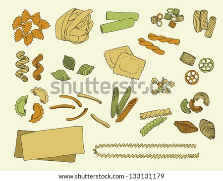 Italian pasta color vector set on a beige background - stock vector