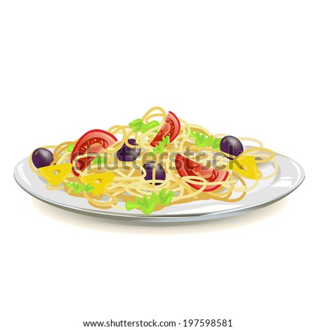 Italian pasta on a plate isolated. vector illustration - stock vector