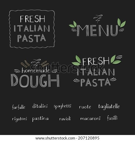 Italian pasta set with text  - stock vector