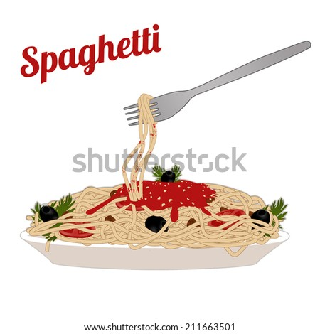 Italian pasta spaghetti in the white plate with fork on white background, vector illustration - stock vector