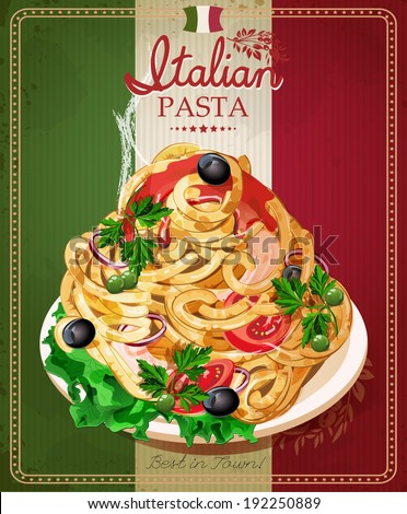 Italian pasta. Spaghetti with sauce. Restaurant menu. Poster in vintage style. - stock vector
