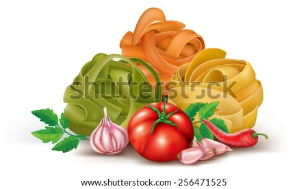 italian pasta with tomato and garlic. vector illustration - stock vector