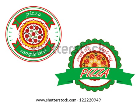 Italian pizza banners set for cafe and fast food design, such a logo template. Jpeg version also available in gallery - stock vector