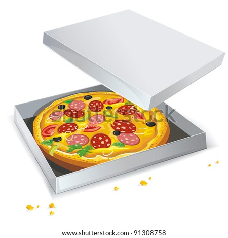 Italian pizza in open paper box on Isolated white background.