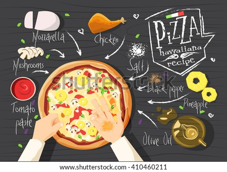 Italian pizza recipe. Hawaiiana pizza.  Italian pizza. delicious pizza. Cooking pizza. Products for pizza. Tasty pizza. Fast pizza. Chief pizza. Delivery pizza. Pizza by  myself. Pizza in microwave.  - stock vector