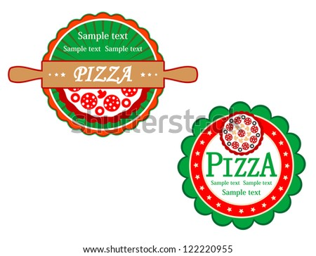 Italian pizza symbols and banners for fast food design, such a logo template. Jpeg version also available in gallery - stock vector