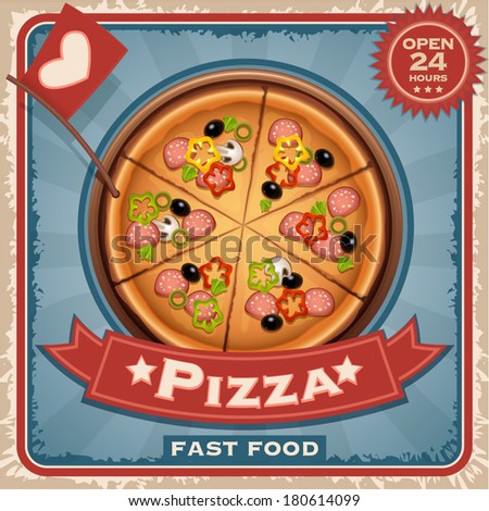 Italian pizza with sausage and mushrooms vector illustration  - stock vector