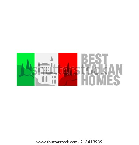 Italian real estate flag logo template. Flag stripes can be tint - stock vector