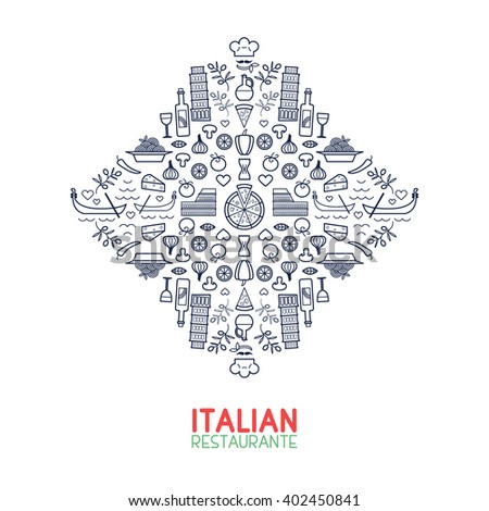 Italian restaurant lineart concept. Set of geometric food line icons. Creative minimalistic art for Italian restaurants and cafes. Ideal for menu decoration and branding. - stock vector